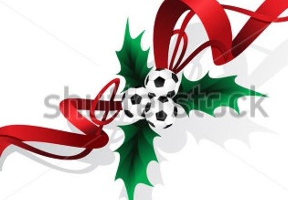 Medium stock vector three football or soccer balls arranged as the berries in christmas holly leaves with red ribbon 212198713